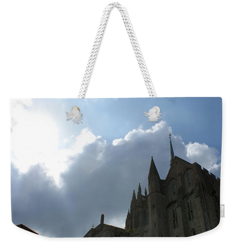 Sky Weekender Tote Bag featuring the photograph Heavens Above Mont St. Michel Abbey by Christine Jepsen