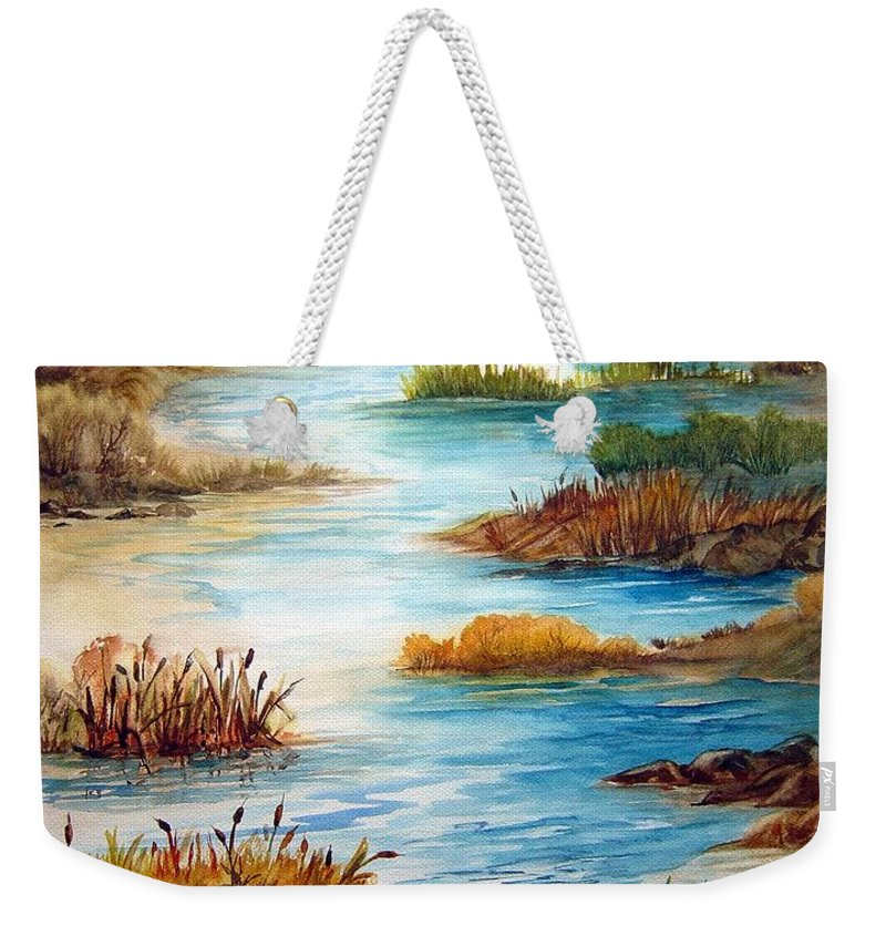 Heavens Gift Water Trees Landscape Weekender Tote Bag featuring the painting Heavens Gift by Joanne Smoley