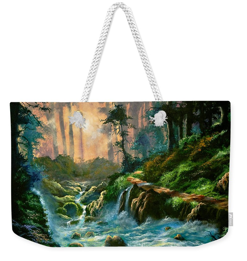 Landscape Weekender Tote Bag featuring the painting Heaven's Light by Marco Antonio Aguilar