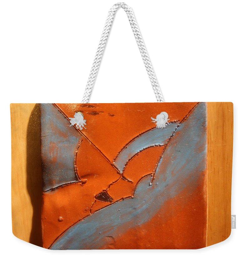 Jesus Weekender Tote Bag featuring the ceramic art Heavenward - Tile by Gloria Ssali