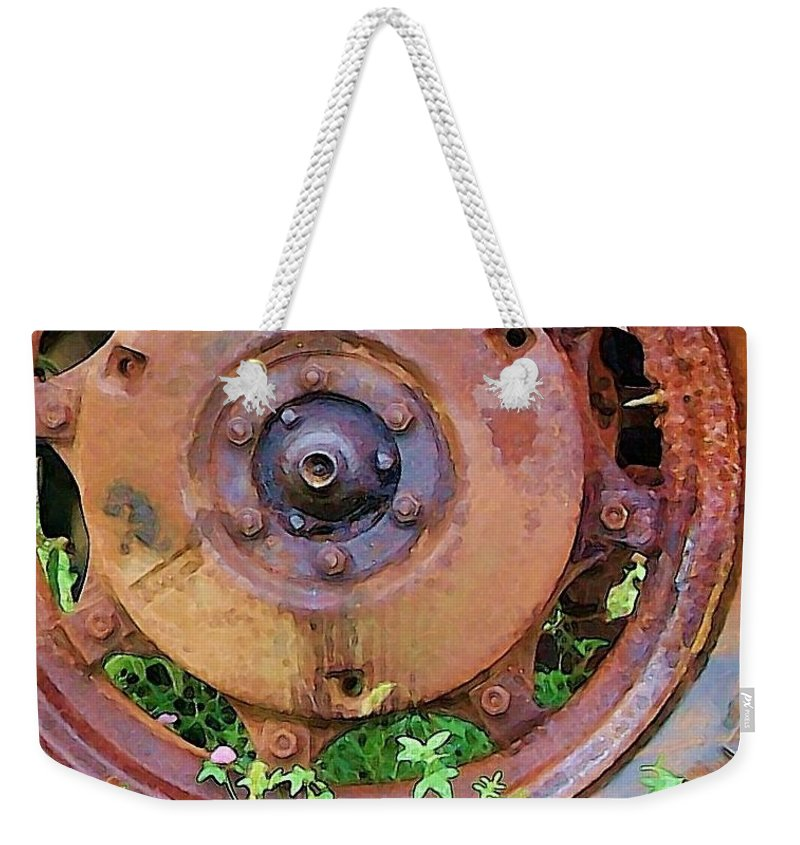 Rust Weekender Tote Bag featuring the photograph Heavy Metal by Debbi Granruth