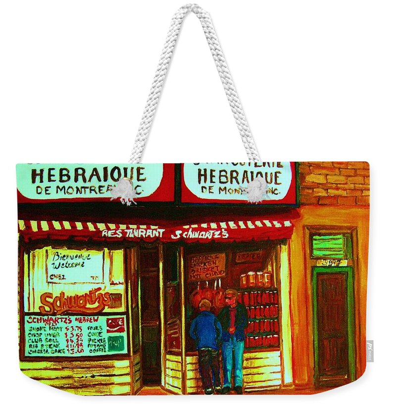 Schwartzs Weekender Tote Bag featuring the painting Hebrew Delicatessen by Carole Spandau