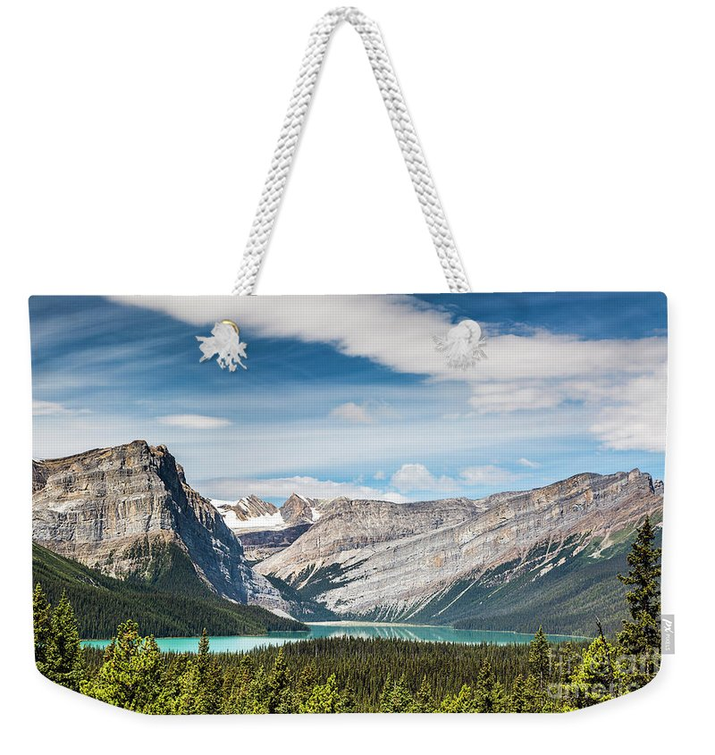 Hector Lake Weekender Tote Bag featuring the photograph Hector Lake, Canadian Rockies by Daryl L Hunter