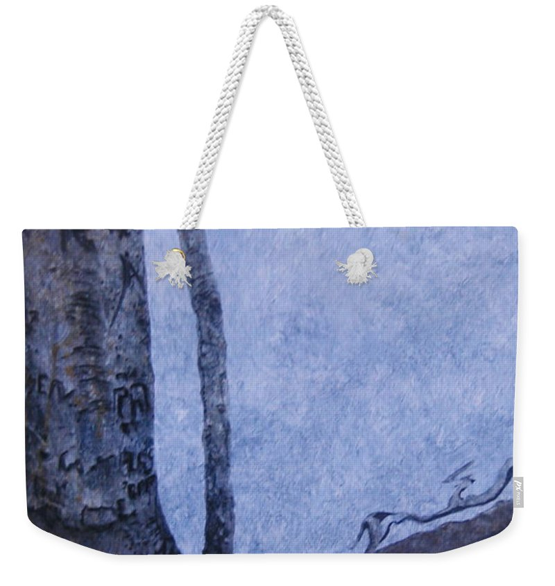 Tree Trunk Weekender Tote Bag featuring the painting Hedden Park II by Leah Tomaino