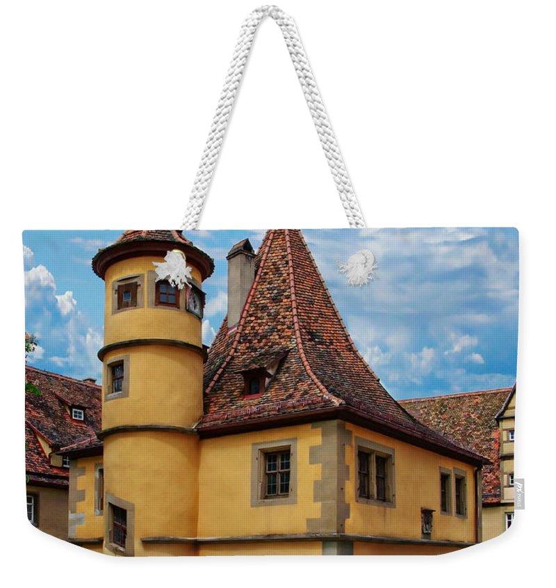 Castle Weekender Tote Bag featuring the photograph Hegereiterhaus Rothenburg Ob Der Tauber by Anthony Dezenzio
