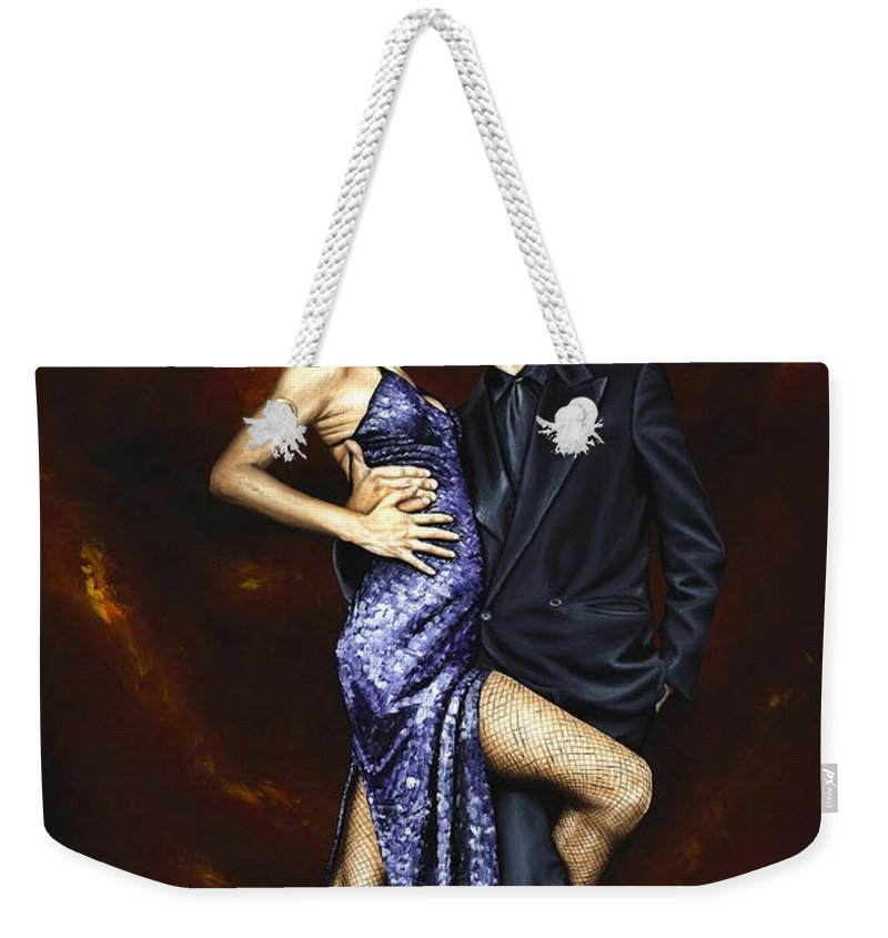 Tango Dancers Love Passion Female Male Woman Man Dance Weekender Tote Bag featuring the painting Held In Tango by Richard Young