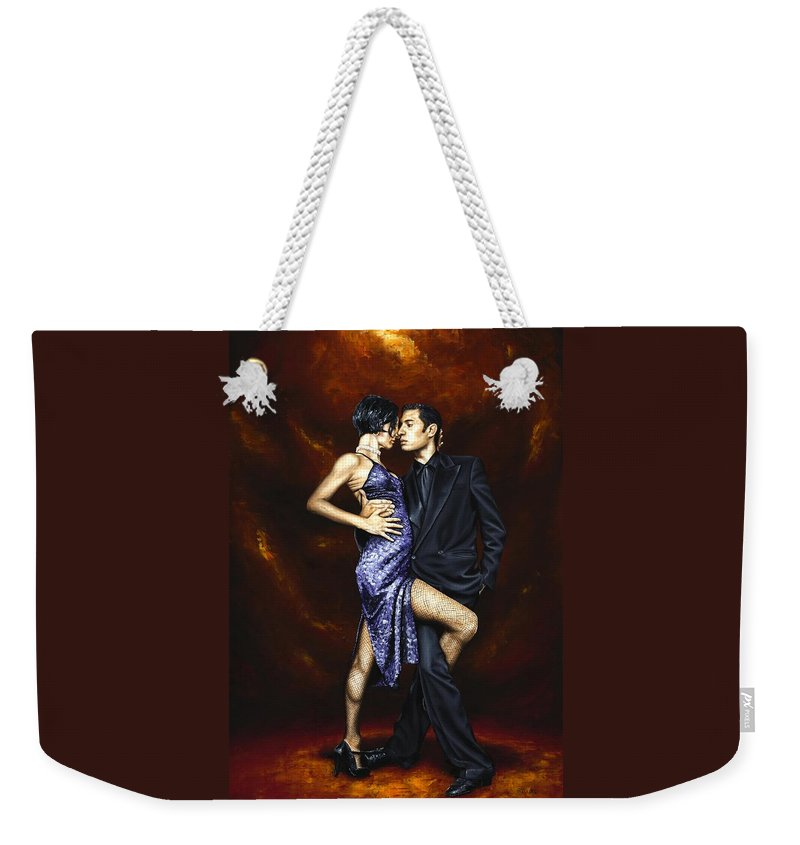 Tango Weekender Tote Bag featuring the painting Held in Tango by Richard Young