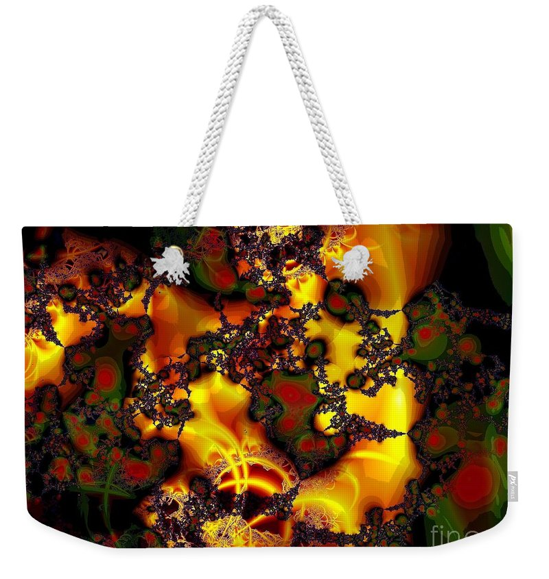 Lace Weekender Tote Bag featuring the digital art Held Together With Lace by Ron Bissett