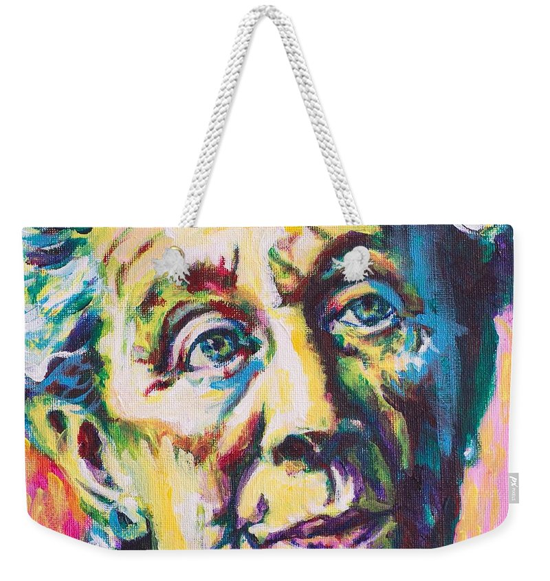 Helen Suzman Weekender Tote Bag featuring the painting Helen by Larry Ger