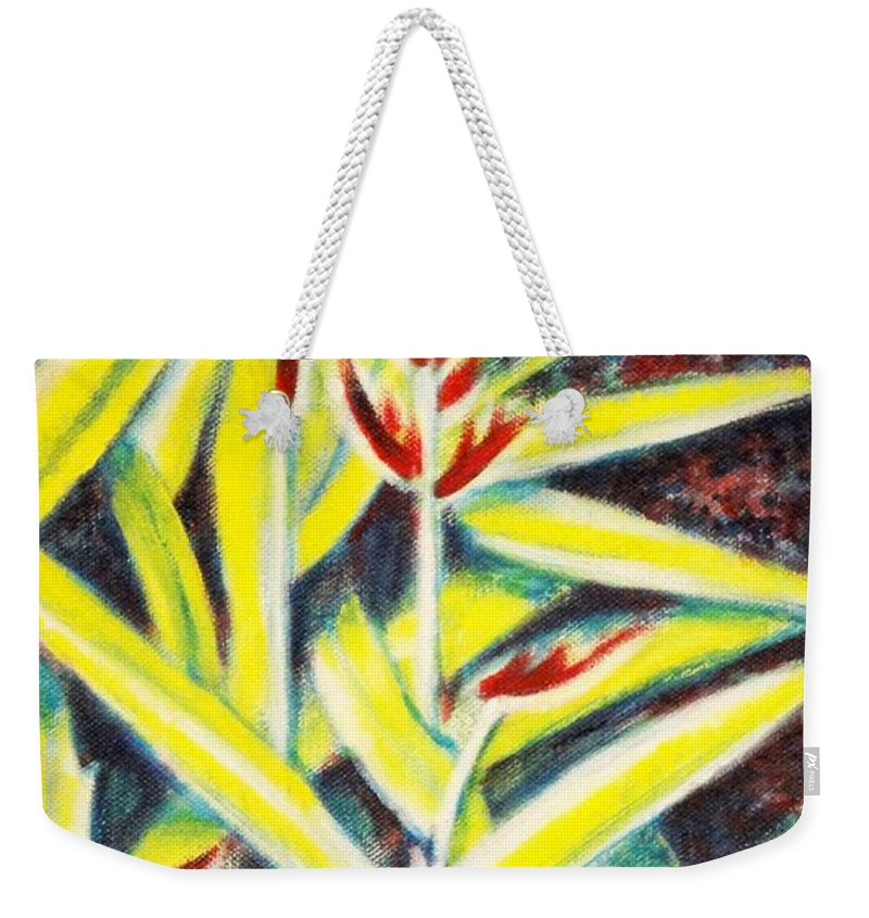 Heliconia Weekender Tote Bag featuring the painting Heliconia 2 by Usha Shantharam