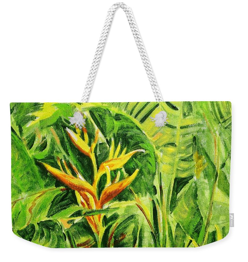 Flowers Weekender Tote Bag featuring the painting Heliconia 8 by Usha Shantharam