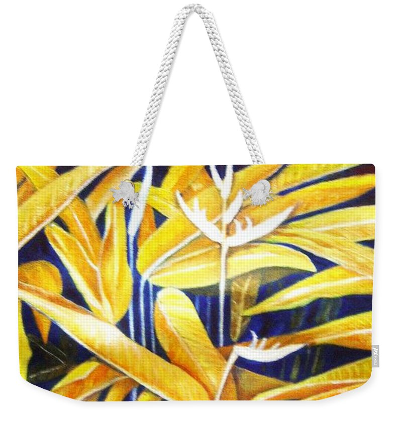 Heliconia Weekender Tote Bag featuring the painting Heliconia by Usha Shantharam