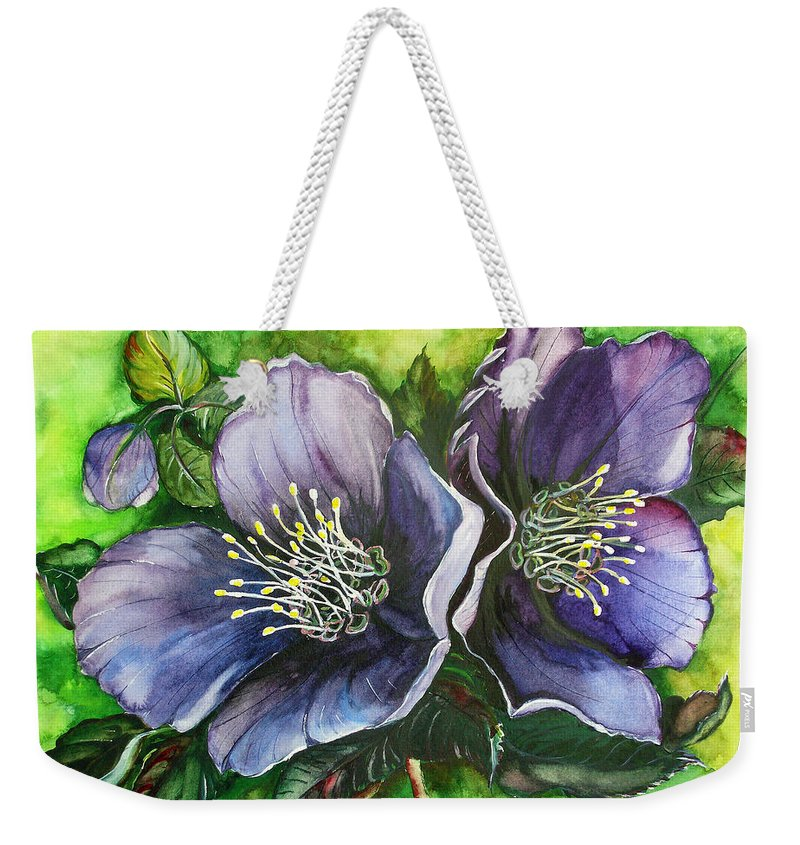 Flower Painting Botanical Painting Original W/c Painting Helleborous Painting Weekender Tote Bag featuring the painting Helleborous Blue Lady by Karin Dawn Kelshall- Best