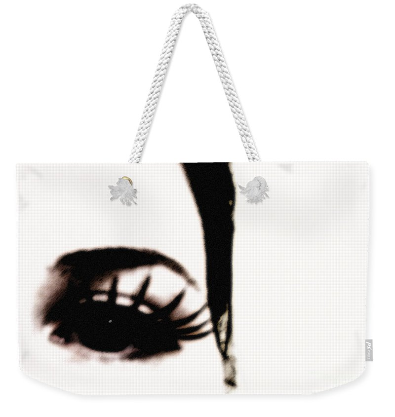 Eye Weekender Tote Bag featuring the photograph Hello by Amanda Barcon