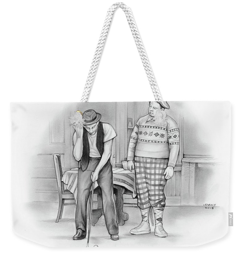 Golf Weekender Tote Bag featuring the drawing Hello Ball by Greg Joens