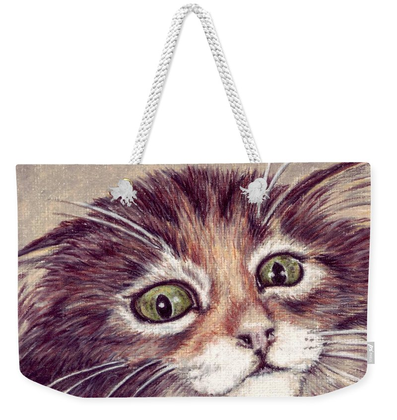 Cat Weekender Tote Bag featuring the drawing Hello Clarice by Kristen Wesch