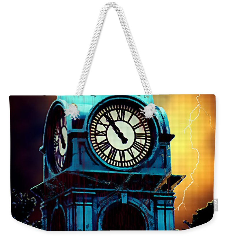 Blood Weekender Tote Bag featuring the painting Hells Timeclock by RC DeWinter