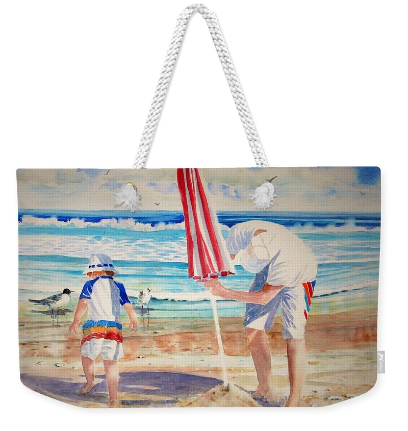 Beach Weekender Tote Bag featuring the painting Helping Dad Set Up The Camp by Tom Harris