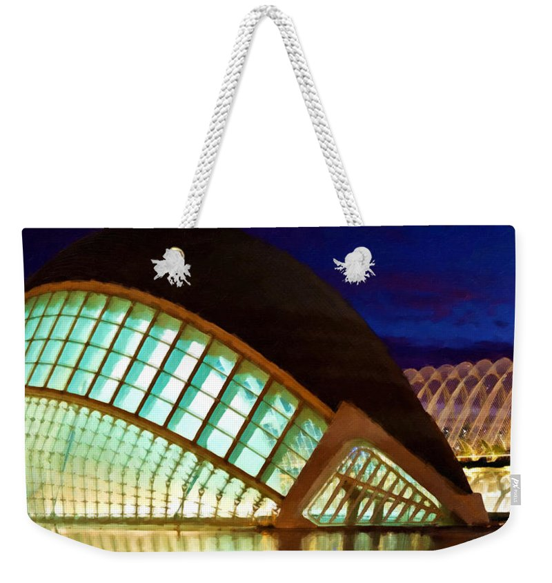 Architecture Weekender Tote Bag featuring the painting Hemispheric - Valencia by Jeelan Clark