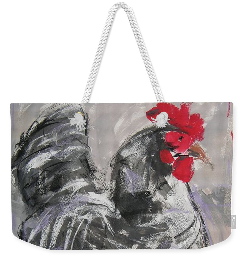 Hen Weekender Tote Bag featuring the painting Hen II by Mary McInnis