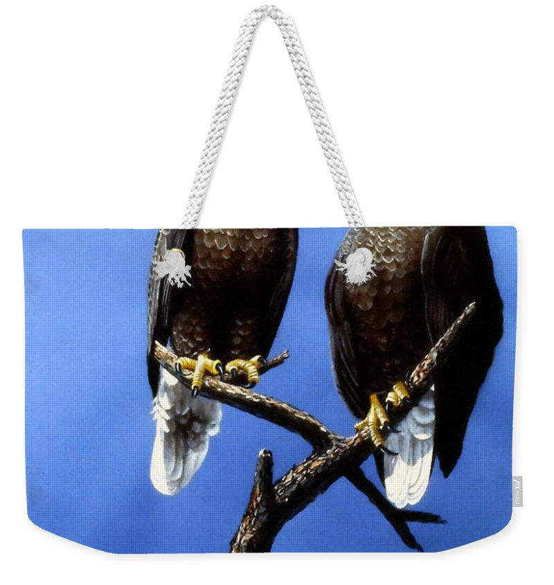 Hen Pecked Eagle Weekender Tote Bag featuring the painting Hen Pecked Eagle by Frank Wilson