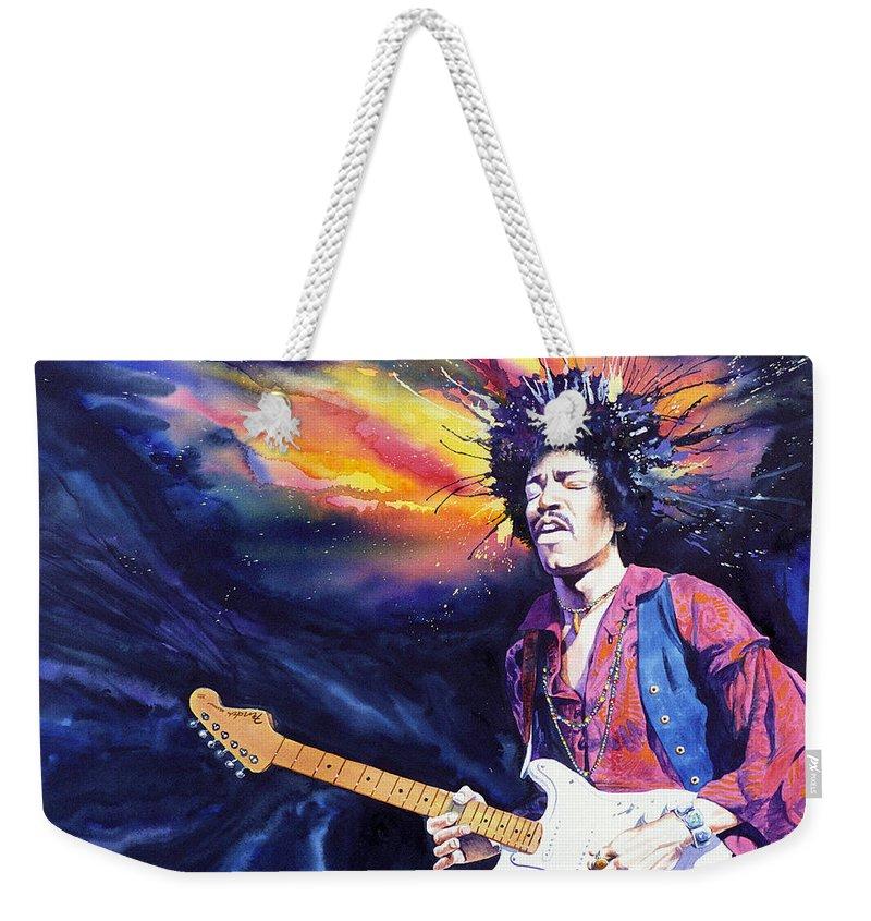 Jimi Hendrix Weekender Tote Bag featuring the painting Hendrix by Ken Meyer jr