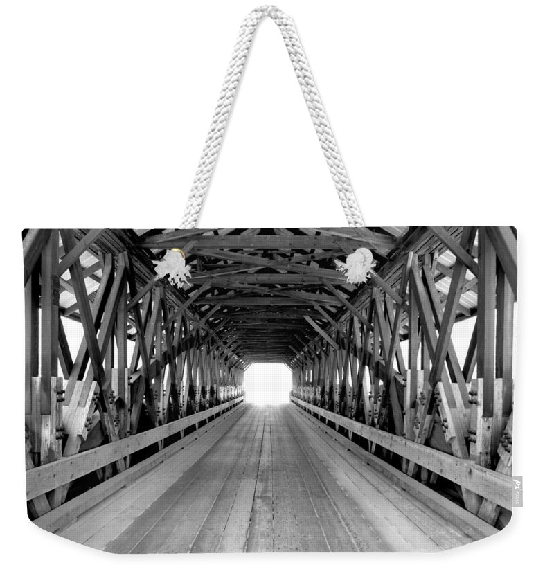 Henniker Weekender Tote Bag featuring the photograph Henniker Covered Bridge by Greg Fortier