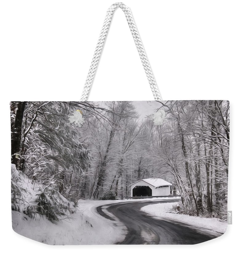 Covered Bridge Weekender Tote Bag featuring the photograph Henningers Farm Covered Bridge by Lori Deiter