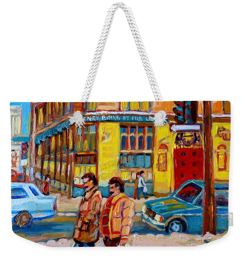 Downtown Montreal Weekender Tote Bag featuring the painting Henry Birks On St Catherine Street by Carole Spandau