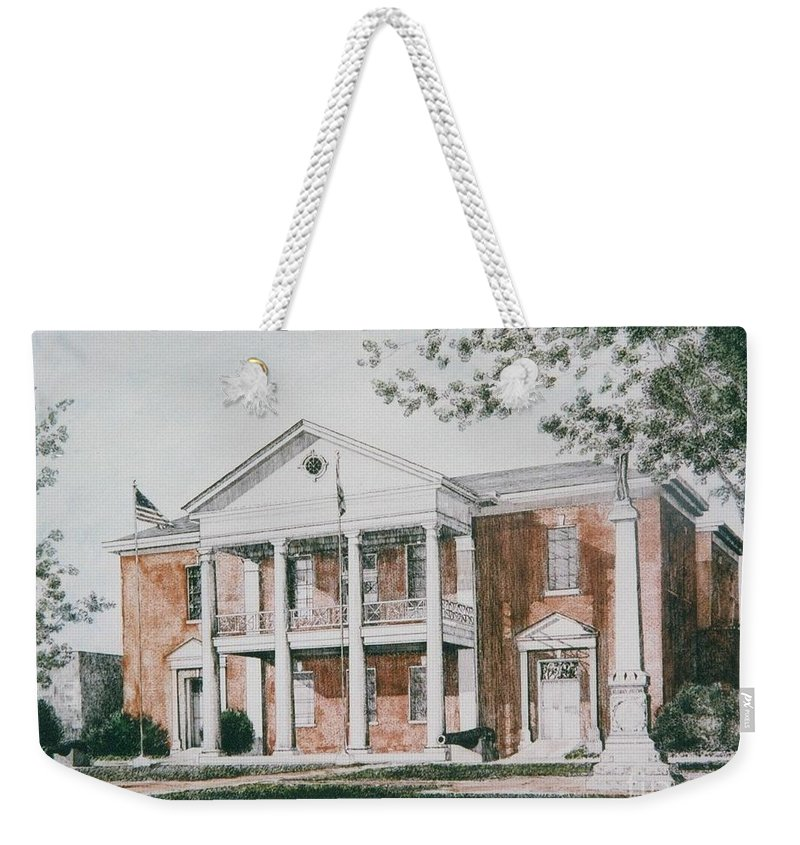 Custom Art Pen And Ink And Watercolor Weekender Tote Bag featuring the painting Henry County Courthouse by Maggie Clark