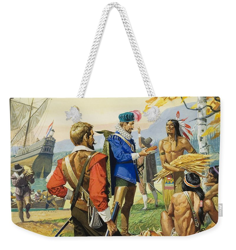 Explorer; Navigator; Ship; Boat; Trader; Trading; Exploration; Barter; Onlooker; Corn; Tobacco; Musket; Hill; Sitting; Water; Maple; Tree; Male; Portrait; Barter; Bartering; Goods; C16th; C17th; Children's Illustration Weekender Tote Bag featuring the painting Henry Hudson by Severino Baraldi