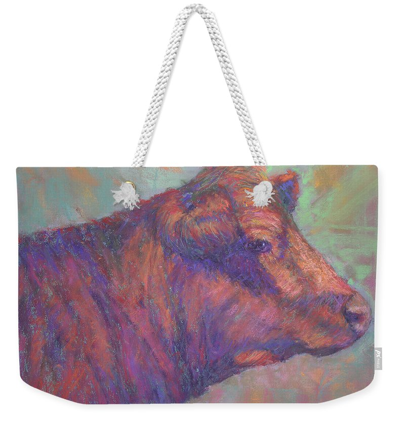 Farm Animals Weekender Tote Bag featuring the painting Henry's Red Angus by Susan Williamson