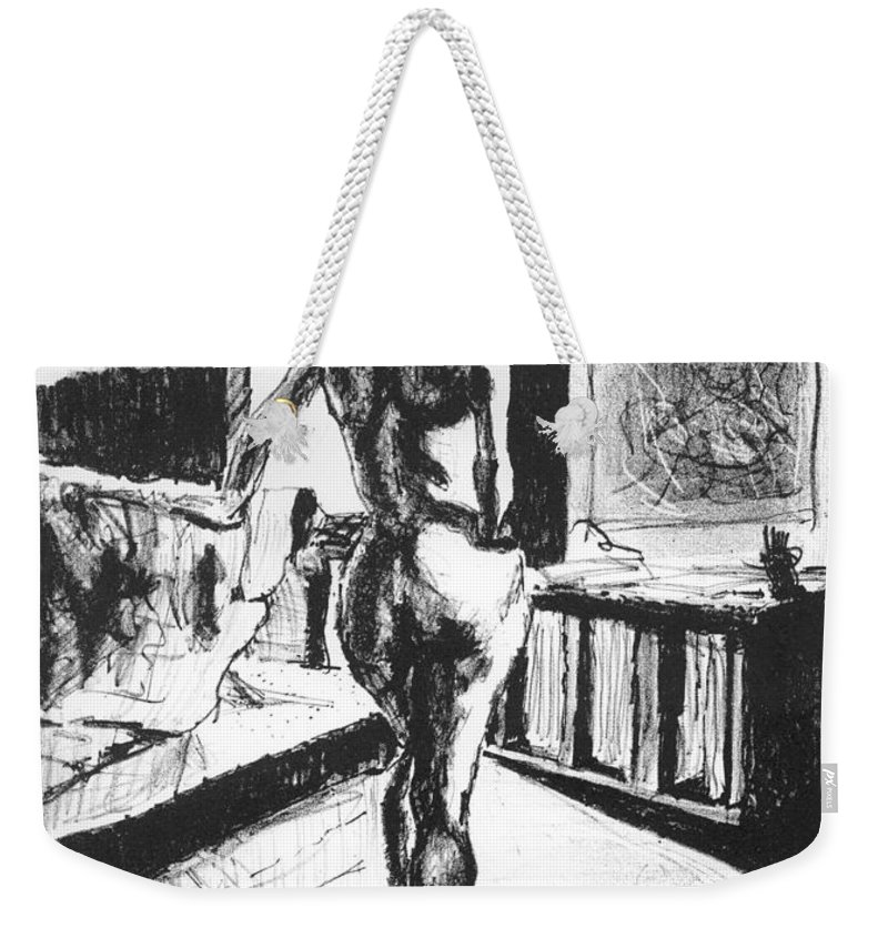 Lithograph Weekender Tote Bag featuring the mixed media Her Back by Ron Bissett