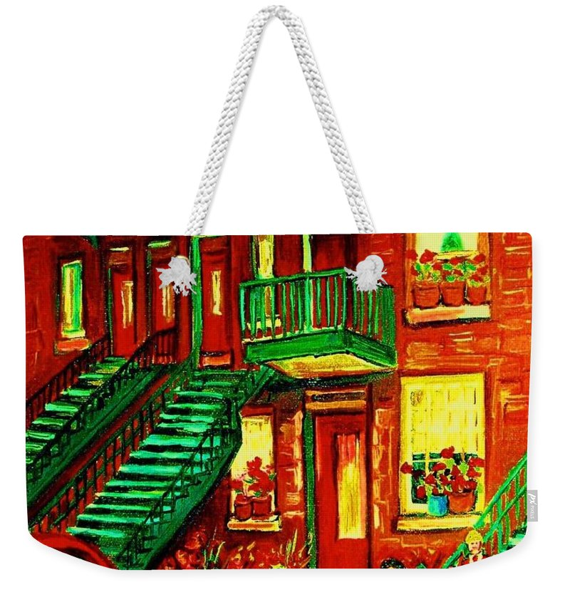 Little Girls Weekender Tote Bag featuring the painting Her Brand New Bike by Carole Spandau