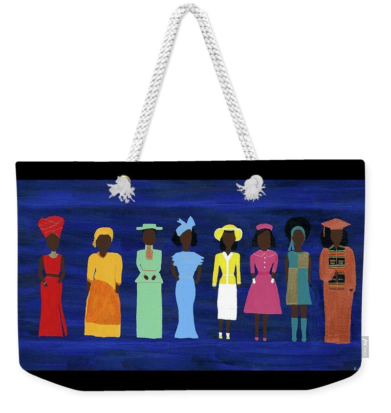 Black Weekender Tote Bag featuring the painting Her Legacy II by Kafia Haile