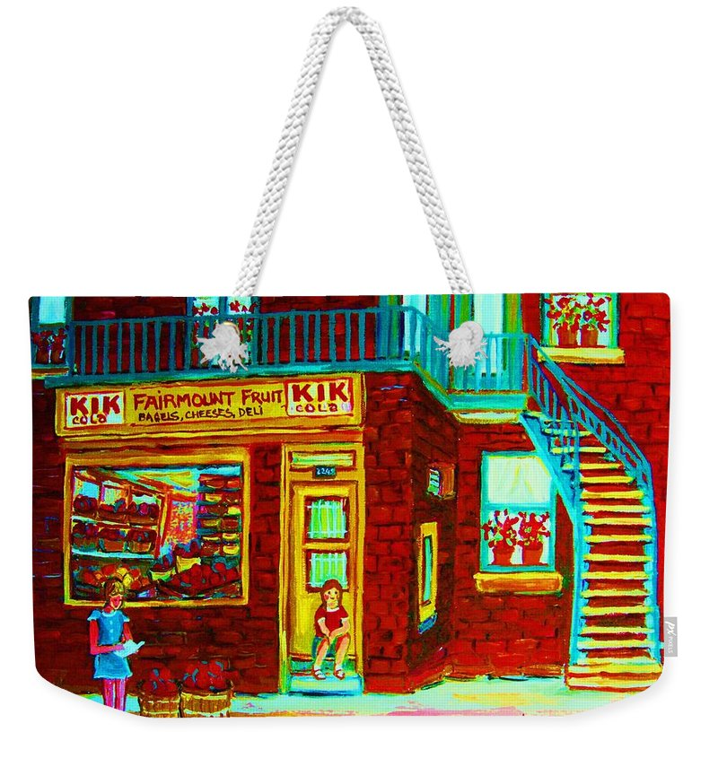 Fmontreal Weekender Tote Bag featuring the painting Her Shopping List by Carole Spandau