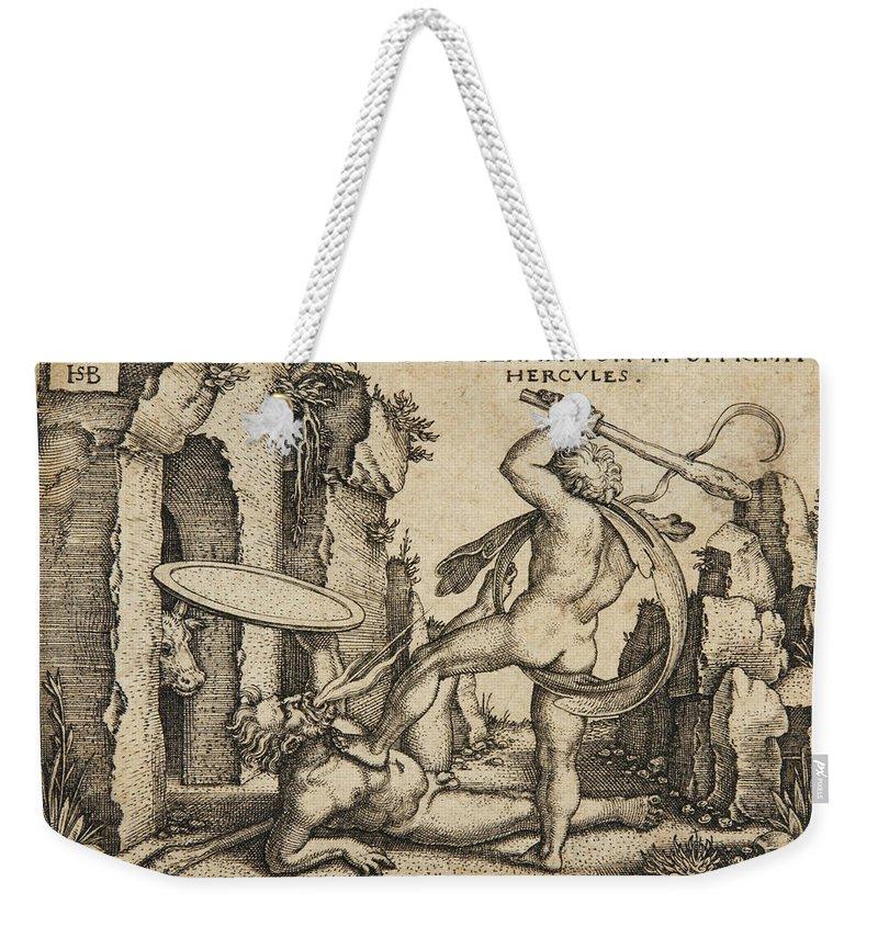 Sebald Beham Weekender Tote Bag featuring the drawing Hercules Killing Cacus At His Cave by Sebald Beham