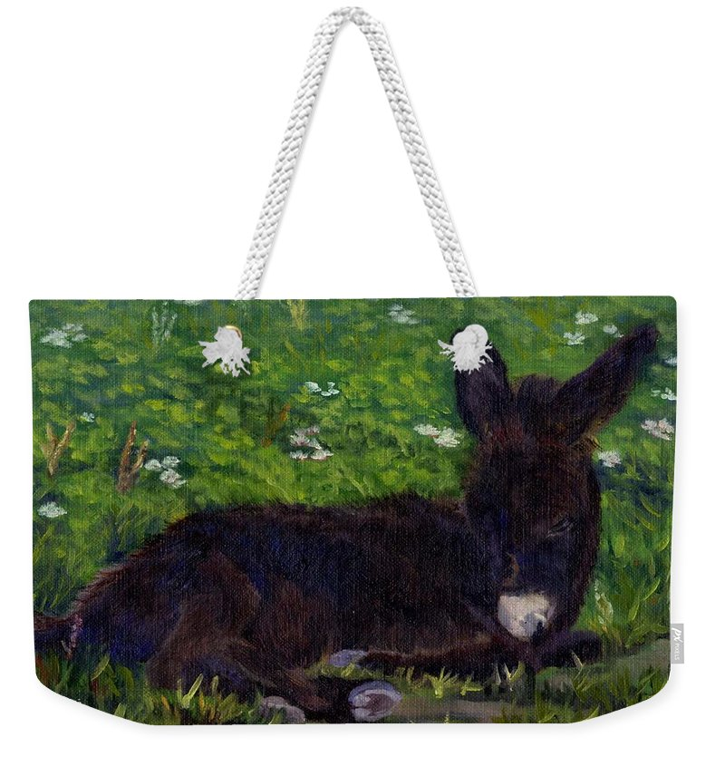 Donkey Weekender Tote Bag featuring the painting Hercules by Sharon E Allen