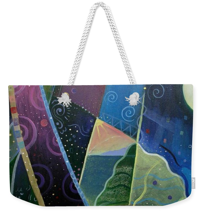 Multi-dimensional Weekender Tote Bag featuring the painting Here And There by Helena Tiainen
