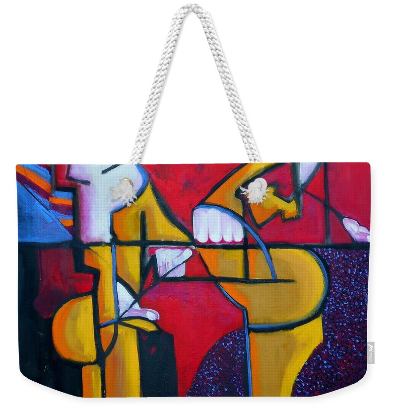Abstract Weekender Tote Bag featuring the painting Here by Angie Wright