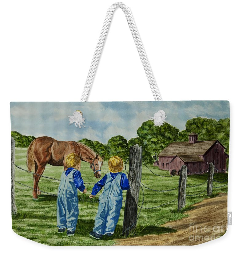 Country Kids Art Weekender Tote Bag featuring the painting Here Horsey Horsey by Charlotte Blanchard