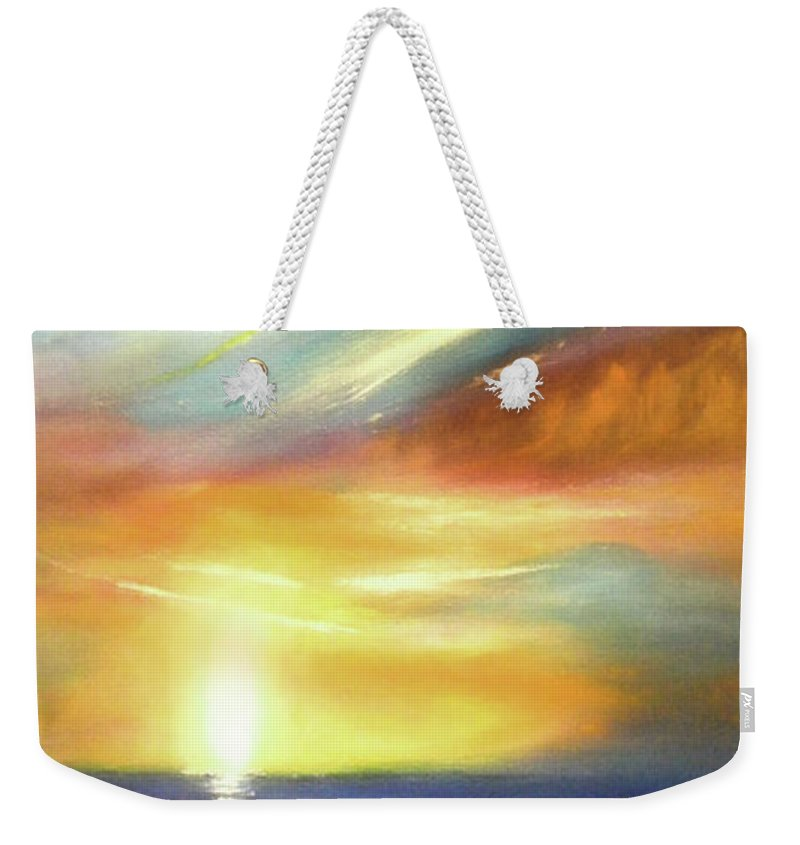 Brown Weekender Tote Bag featuring the painting Here It Goes - Vertical Colorful Sunset by Gina De Gorna