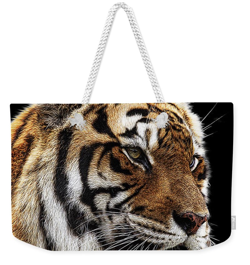 Bengal Tiger Weekender Tote Bag featuring the photograph Here Kitty... by Janet Fikar
