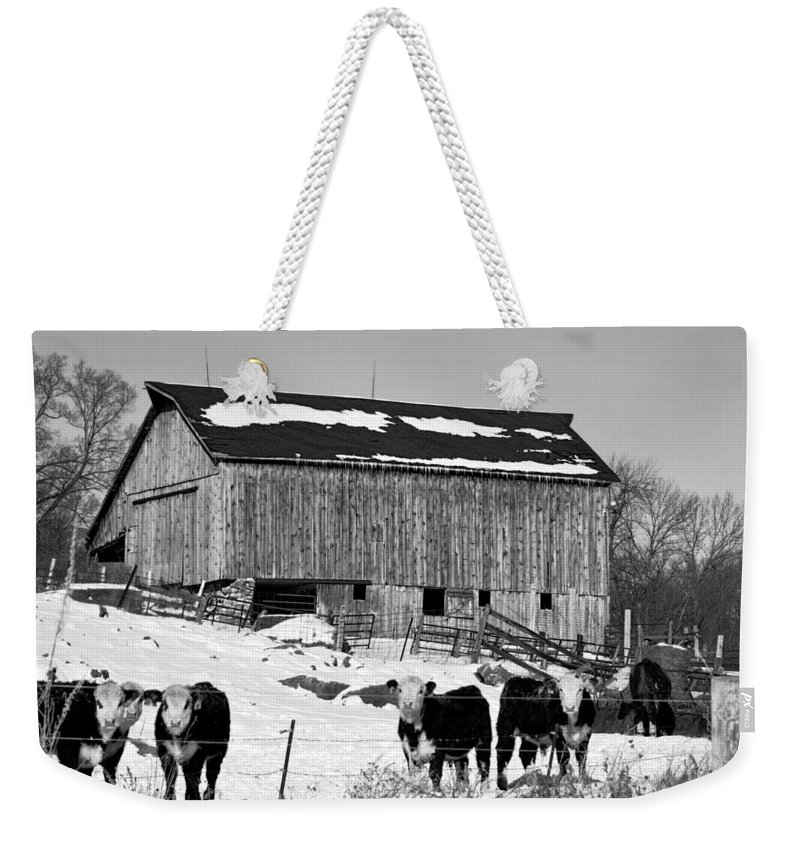 Rustic Weekender Tote Bag featuring the photograph Hereford Barn Bw by Bonfire Photography