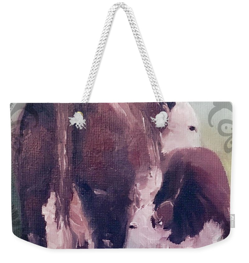 Cow Weekender Tote Bag featuring the painting Hereford Cow Calf by Michele Carter