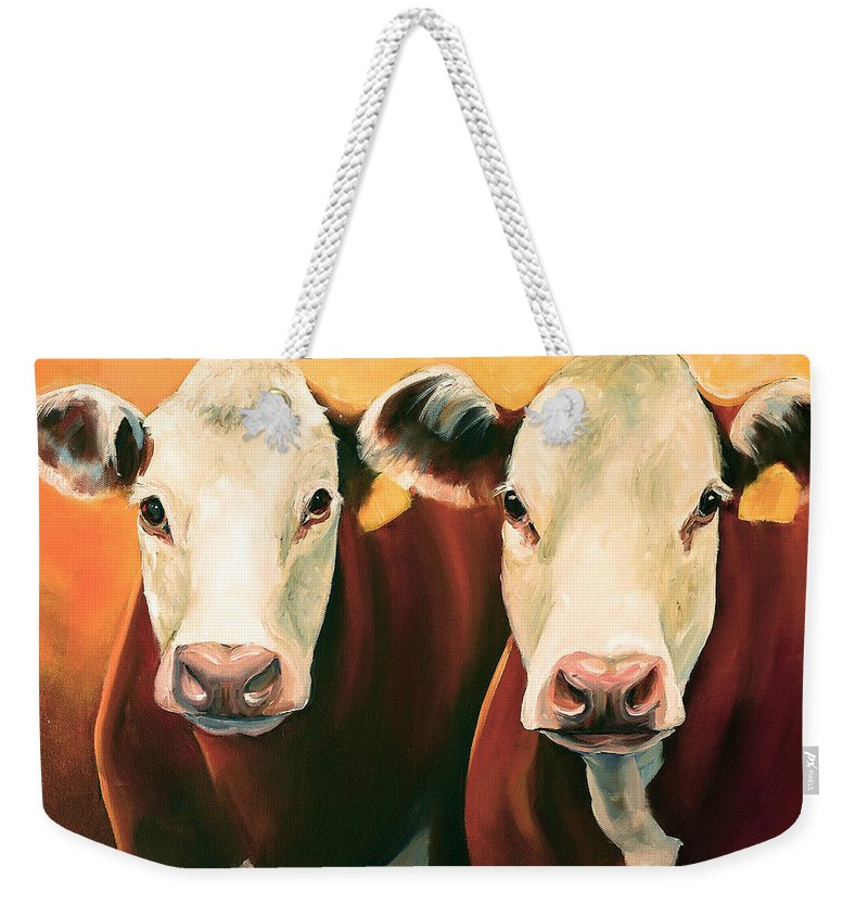 Cows Weekender Tote Bag featuring the painting Herefords by Toni Grote