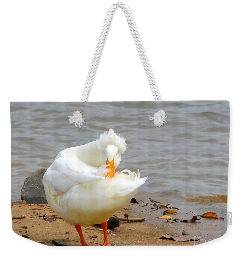 Duck Weekender Tote Bag featuring the photograph Here's Looking At You by Todd Blanchard