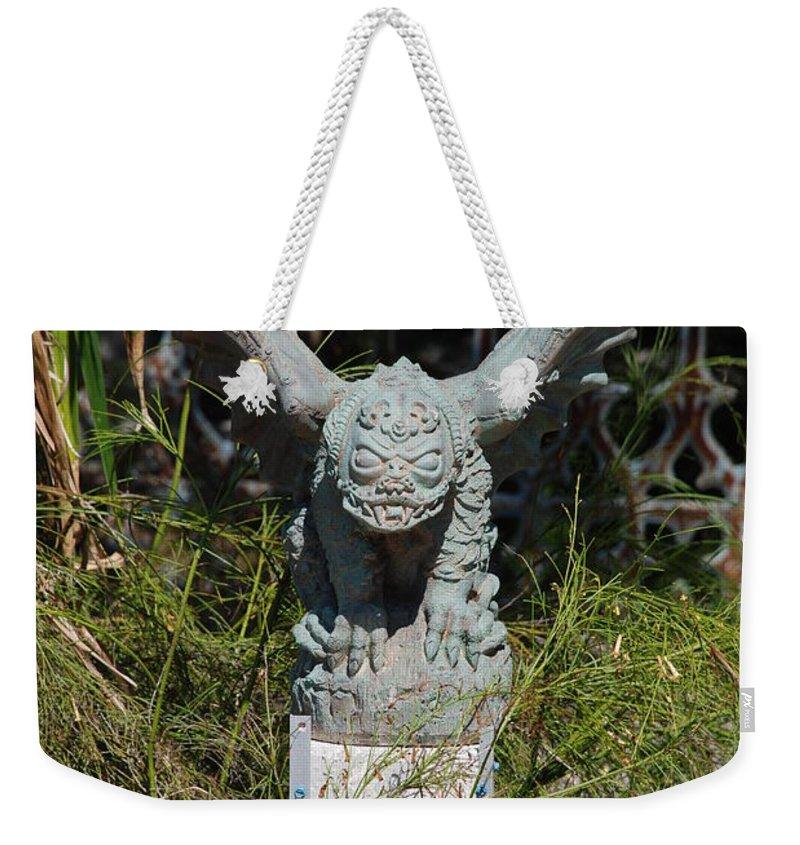 Gargoyle Weekender Tote Bag featuring the photograph Herman Gargoyle by Rob Hans