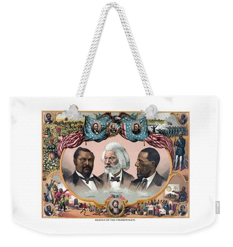 Black History Weekender Tote Bag featuring the painting Heroes Of The Colored Race by War Is Hell Store