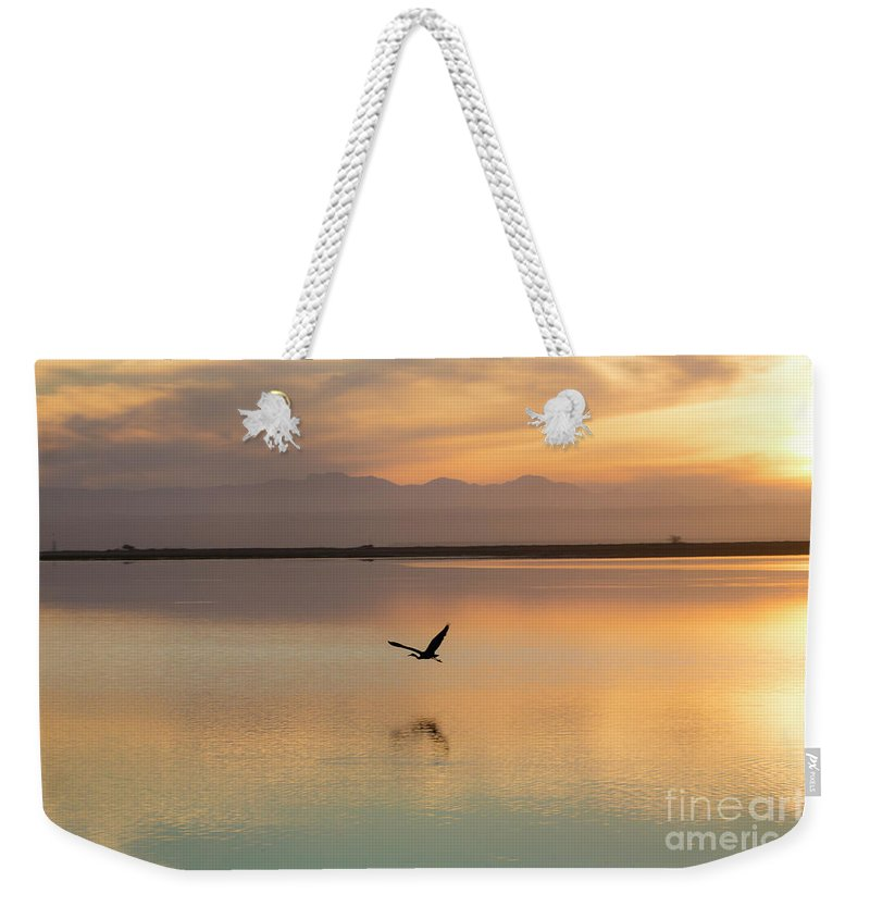 Heron Weekender Tote Bag featuring the photograph Heron at sunset by Sheila Smart Fine Art Photography